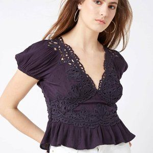 Free People Sweet Roses Embroidered Crochet Top S